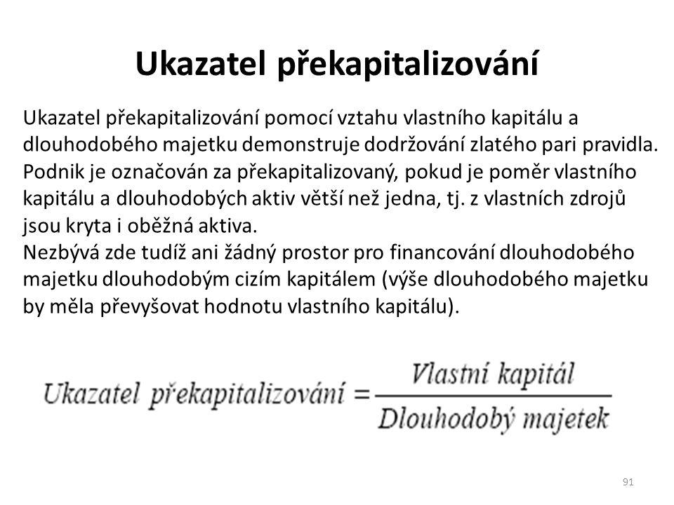 Ukazatel překapitalizování 91 Ukazatel překapitalizování pomocí vztahu vlastního kapitálu a dlouhodobého majetku demonstruje dodržování zlatého pari pravidla.