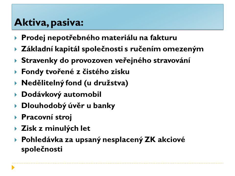 Aktiva, pasiva:  Prodej nepotřebného materiálu na fakturu  Základní kapitál společnosti s ručením omezeným  Stravenky do provozoven veřejného strav