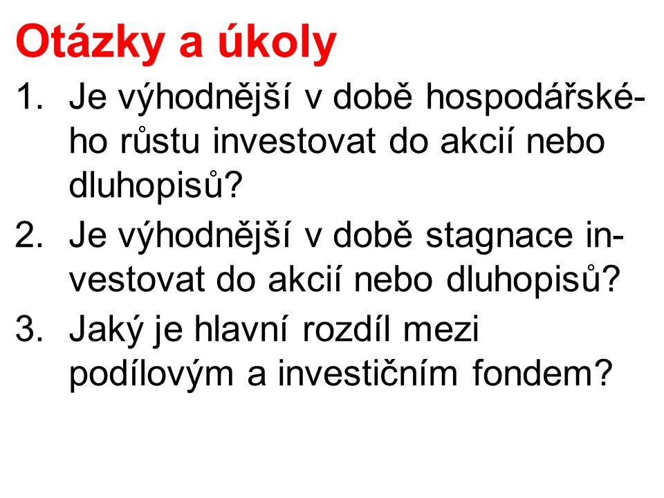 Otázky a úkoly 1.Je výhodnější v době hospodářské- ho růstu investovat do akcií nebo dluhopisů.