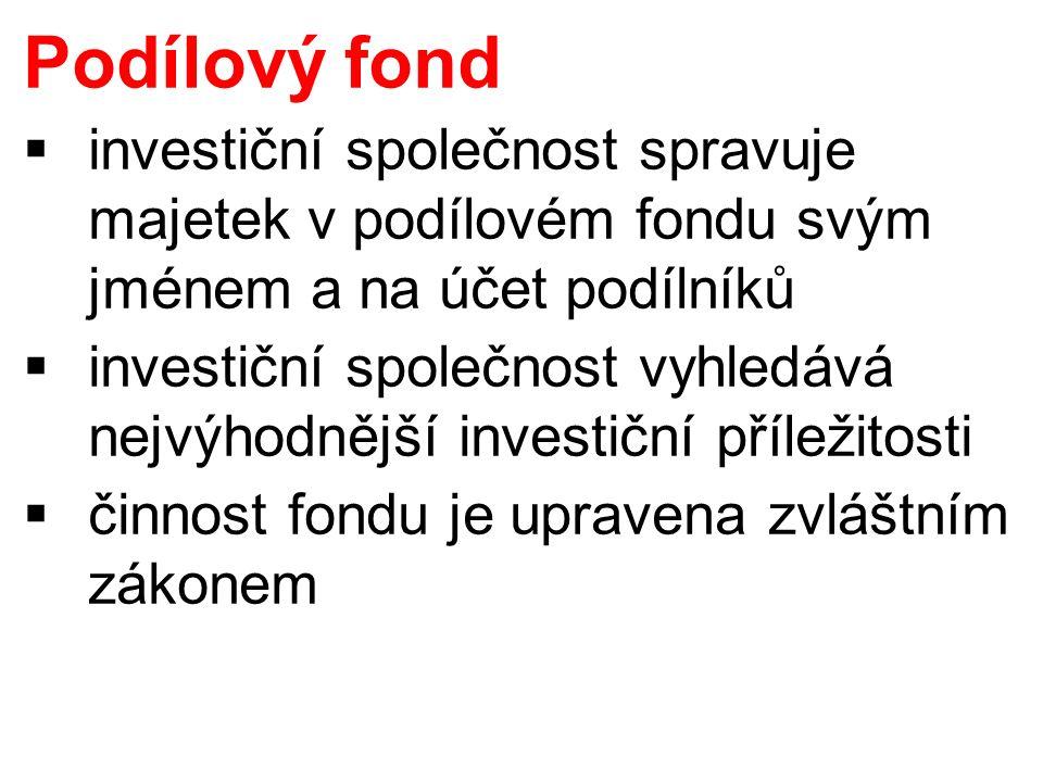 Podílový fond  investiční společnost spravuje majetek v podílovém fondu svým jménem a na účet podílníků  investiční společnost vyhledává nejvýhodnější investiční příležitosti  činnost fondu je upravena zvláštním zákonem