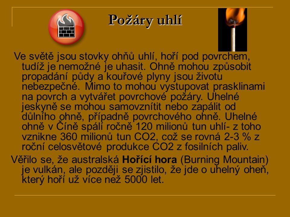 Požáry uhlí Ve světě jsou stovky ohňů uhlí, hoří pod povrchem, tudíž je nemožné je uhasit.