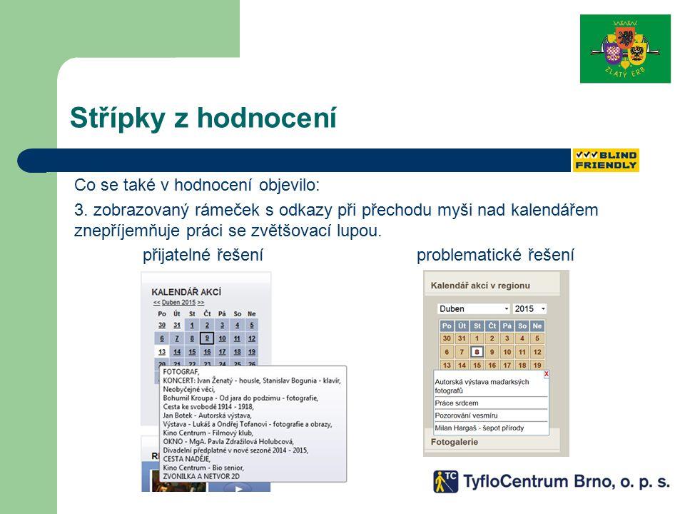 Střípky z hodnocení Co se také v hodnocení objevilo: 3. zobrazovaný rámeček s odkazy při přechodu myši nad kalendářem znepříjemňuje práci se zvětšovac