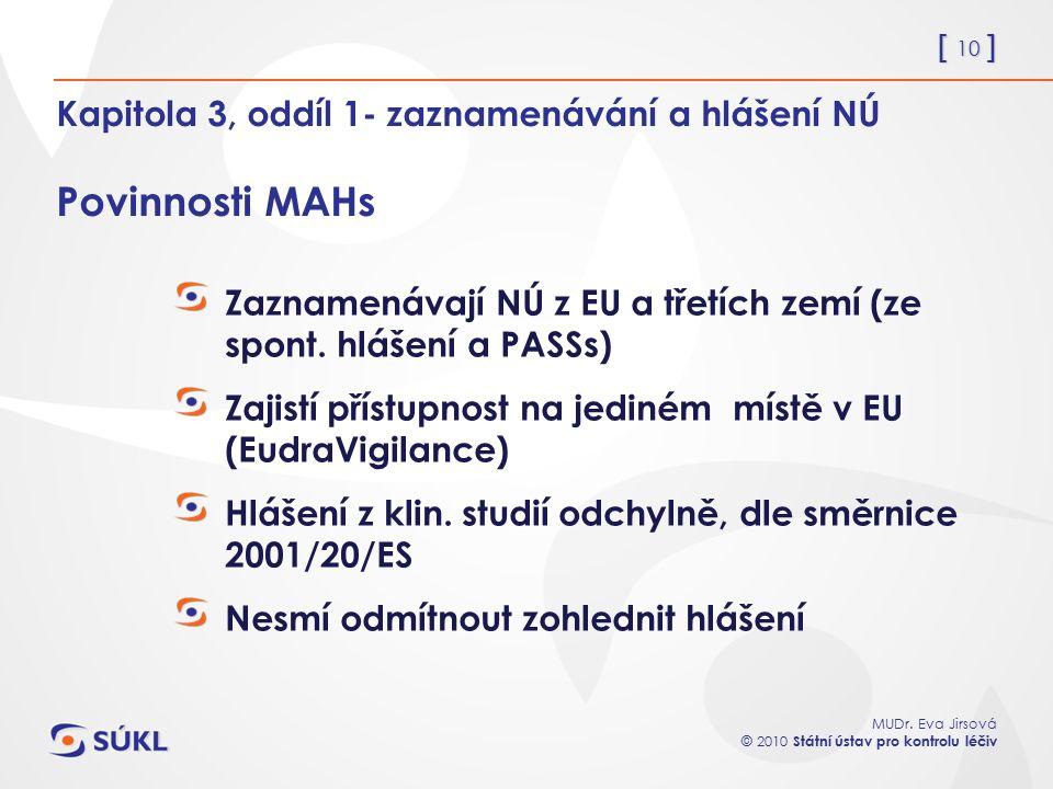 [ 10 ] MUDr. Eva Jirsová © 2010 Státní ústav pro kontrolu léčiv Kapitola 3, oddíl 1- zaznamenávání a hlášení NÚ Povinnosti MAHs Zaznamenávají NÚ z EU