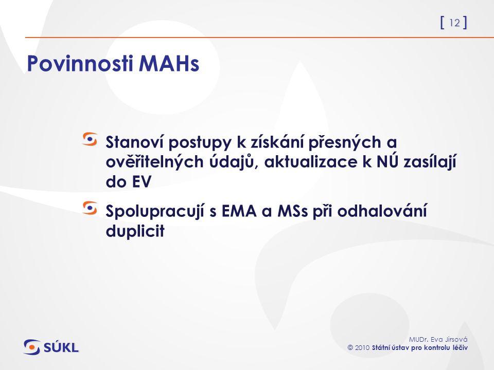 [ 12 ] MUDr. Eva Jirsová © 2010 Státní ústav pro kontrolu léčiv Povinnosti MAHs Stanoví postupy k získání přesných a ověřitelných údajů, aktualizace k