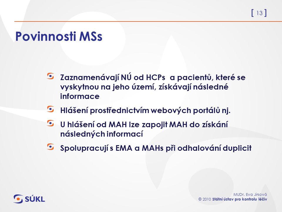 [ 13 ] MUDr. Eva Jirsová © 2010 Státní ústav pro kontrolu léčiv Povinnosti MSs Zaznamenávají NÚ od HCPs a pacientů, které se vyskytnou na jeho území,
