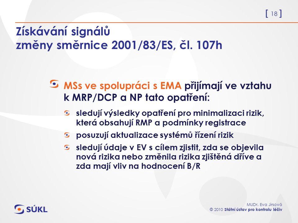 [ 18 ] MUDr. Eva Jirsová © 2010 Státní ústav pro kontrolu léčiv Získávání signálů změny směrnice 2001/83/ES, čl. 107h MSs ve spolupráci s EMA přijímaj