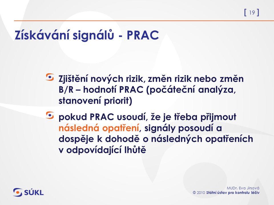 [ 19 ] MUDr. Eva Jirsová © 2010 Státní ústav pro kontrolu léčiv Získávání signálů - PRAC Zjištění nových rizik, změn rizik nebo změn B/R – hodnotí PRA