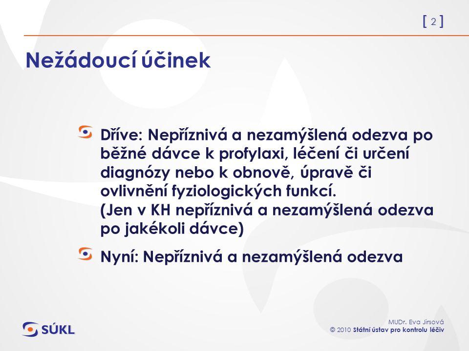 [ 2 ] MUDr. Eva Jirsová © 2010 Státní ústav pro kontrolu léčiv Nežádoucí účinek Dříve: Nepříznivá a nezamýšlená odezva po běžné dávce k profylaxi, léč