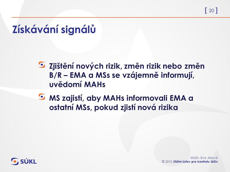 [ 20 ] MUDr. Eva Jirsová © 2010 Státní ústav pro kontrolu léčiv Získávání signálů Zjištění nových rizik, změn rizik nebo změn B/R – EMA a MSs se vzáje
