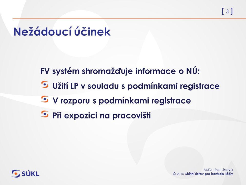 [ 3 ] MUDr. Eva Jirsová © 2010 Státní ústav pro kontrolu léčiv Nežádoucí účinek FV systém shromažďuje informace o NÚ: Užití LP v souladu s podmínkami