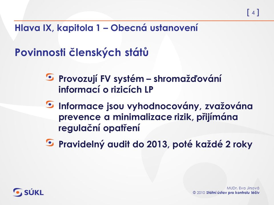 [ 4 ] MUDr. Eva Jirsová © 2010 Státní ústav pro kontrolu léčiv Hlava IX, kapitola 1 – Obecná ustanovení Povinnosti členských států Provozují FV systém
