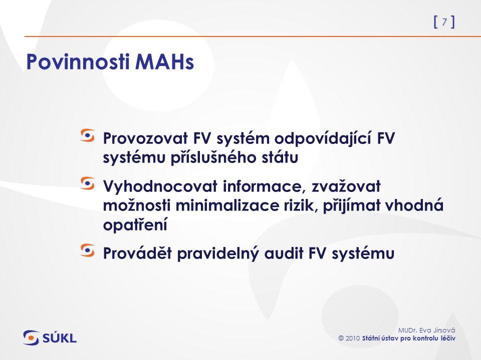 [ 7 ] MUDr. Eva Jirsová © 2010 Státní ústav pro kontrolu léčiv Povinnosti MAHs Provozovat FV systém odpovídající FV systému příslušného státu Vyhodnoc