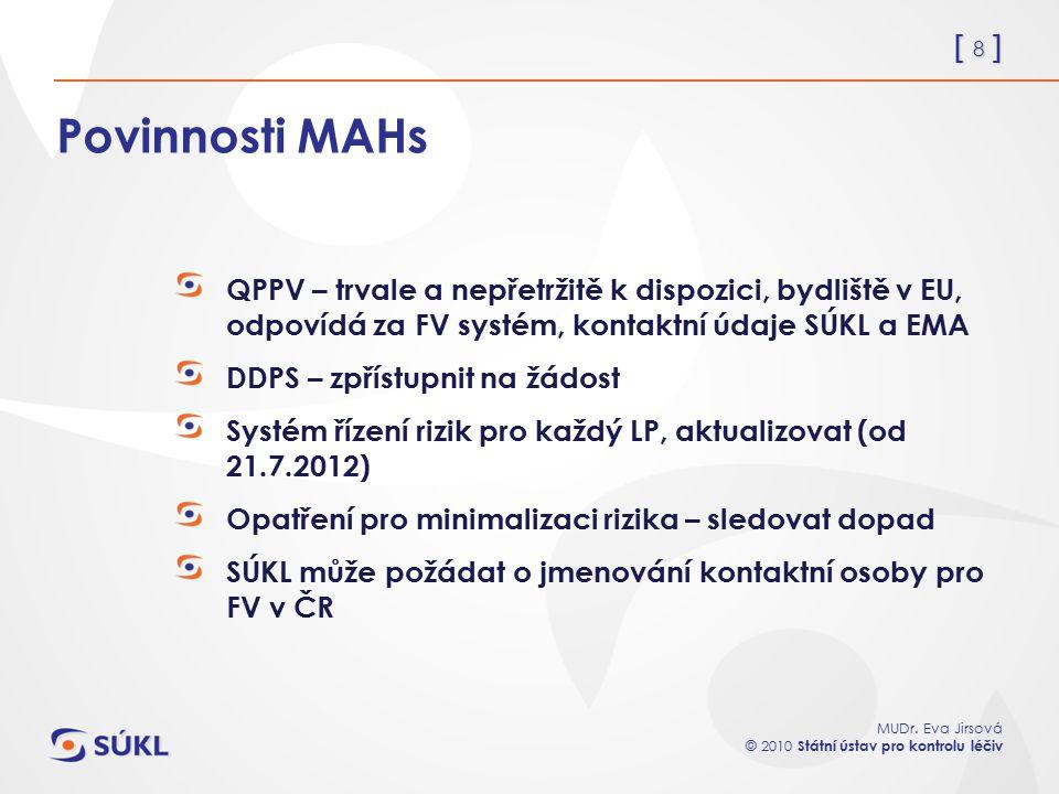 [ 8 ] MUDr. Eva Jirsová © 2010 Státní ústav pro kontrolu léčiv Povinnosti MAHs QPPV – trvale a nepřetržitě k dispozici, bydliště v EU, odpovídá za FV