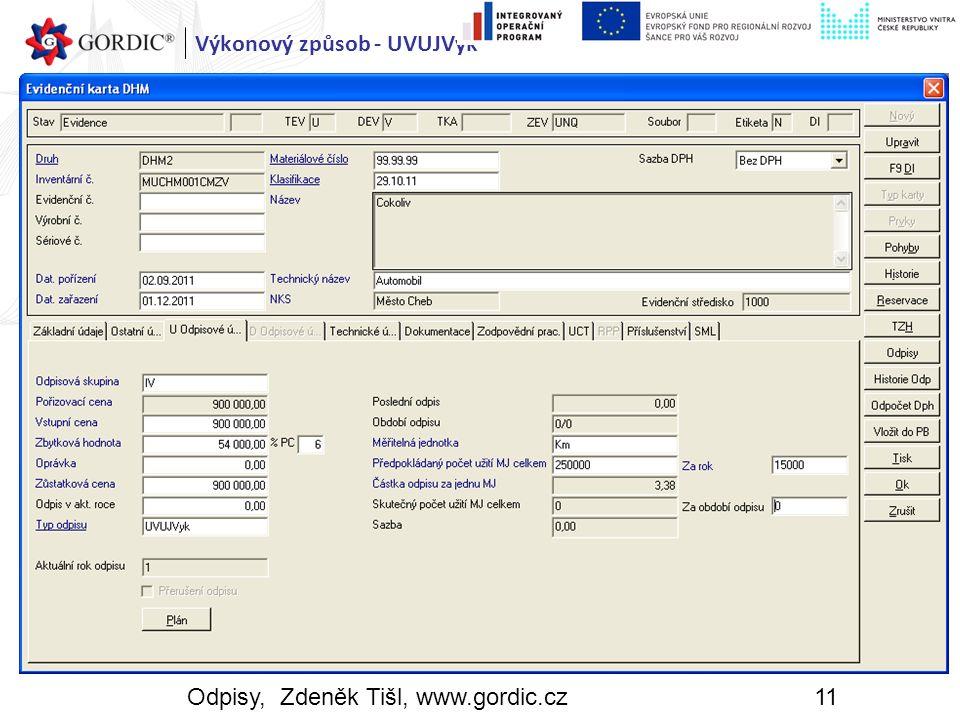 Odpisy, Zdeněk Tišl, www.gordic.cz11 Výkonový způsob - UVUJVyk