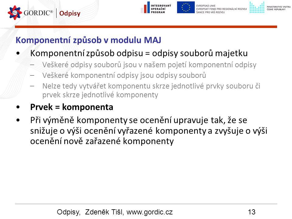 Odpisy, Zdeněk Tišl, www.gordic.cz13 Odpisy Komponentní způsob v modulu MAJ Komponentní způsob odpisu = odpisy souborů majetku –Veškeré odpisy souborů
