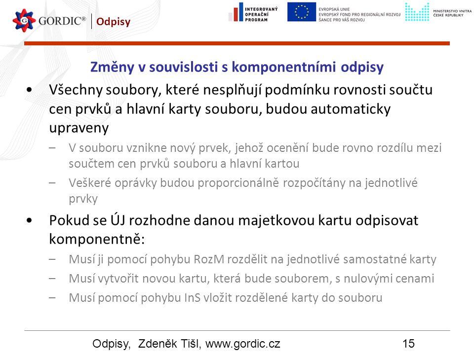 Odpisy, Zdeněk Tišl, www.gordic.cz15 Odpisy Změny v souvislosti s komponentními odpisy Všechny soubory, které nesplňují podmínku rovnosti součtu cen p