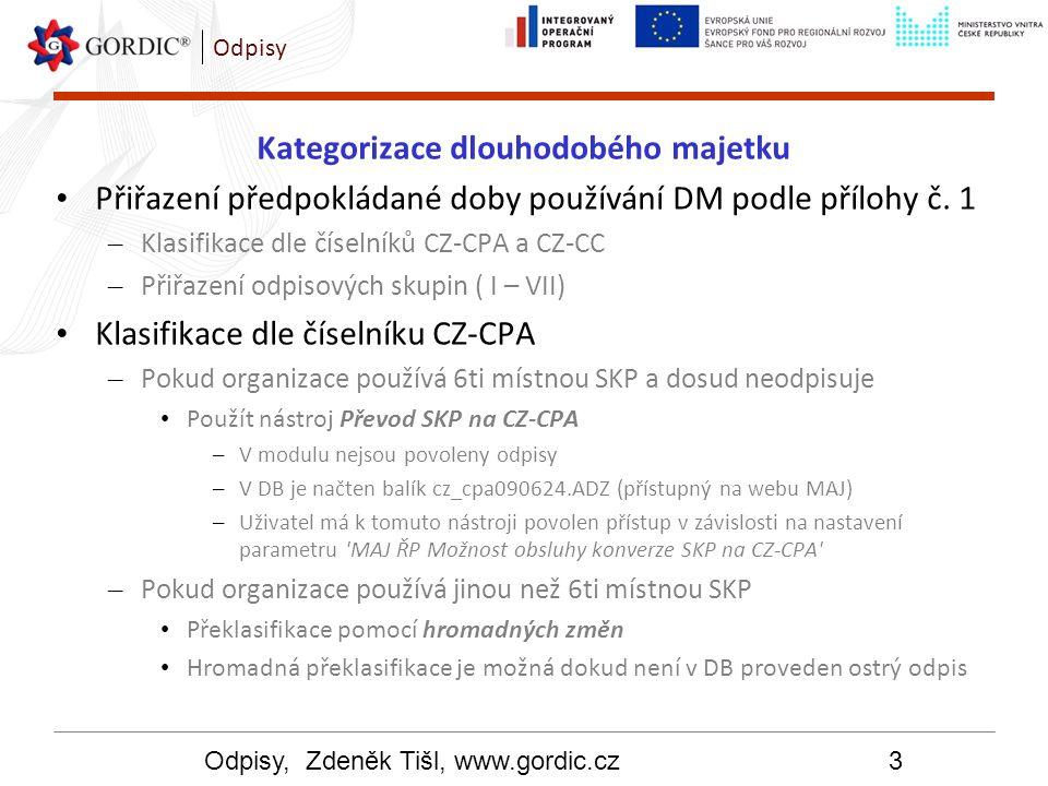 Odpisy, Zdeněk Tišl, www.gordic.cz4 Odpisy Kategorizace dlouhodobého majetku Dlouhodobý nehmotný majetek Standardem do značné míry opomenut Neexistuje vazba mezi číselníkem CZ-CPA a DNM Neexistují pro něj závazné odpisové skupiny, Proto byly v modulu MAJ vytvořeny následující: