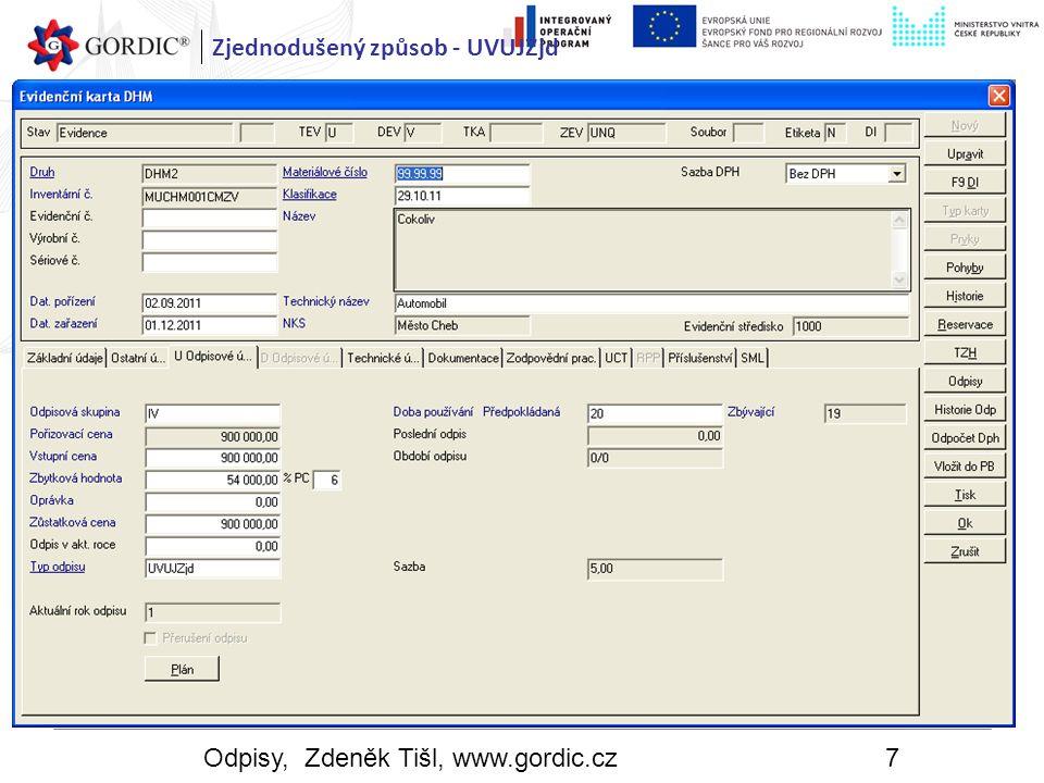 Odpisy, Zdeněk Tišl, www.gordic.cz18 Odpisy Komponentní odpisy Karta prvku Typ evidence – operativní, TEV= O Typ karty – Prvek, TKA = Prvek Typ souboru – účetní, Soubor = Uct Jméno souboru a identifikátor souboru jsou shodné s údajem na evidenční kartě souboru