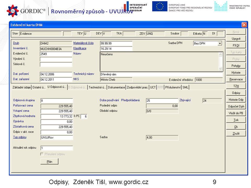 Odpisy, Zdeněk Tišl, www.gordic.cz9 Rovnoměrný způsob - UVUJRov