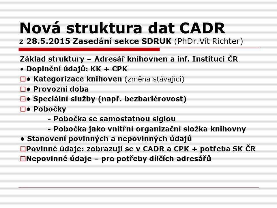 Nová struktura dat CADR z 28.5.2015 Zasedání sekce SDRUK (PhDr.Vít Richter) Základ struktury – Adresář knihovnen a inf. Institucí ČR Doplnění údajů: K