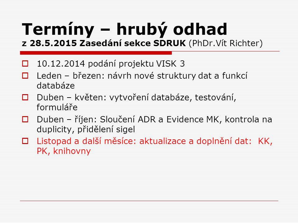 Termíny – hrubý odhad z 28.5.2015 Zasedání sekce SDRUK (PhDr.Vít Richter)  10.12.2014 podání projektu VISK 3  Leden – březen: návrh nové struktury d