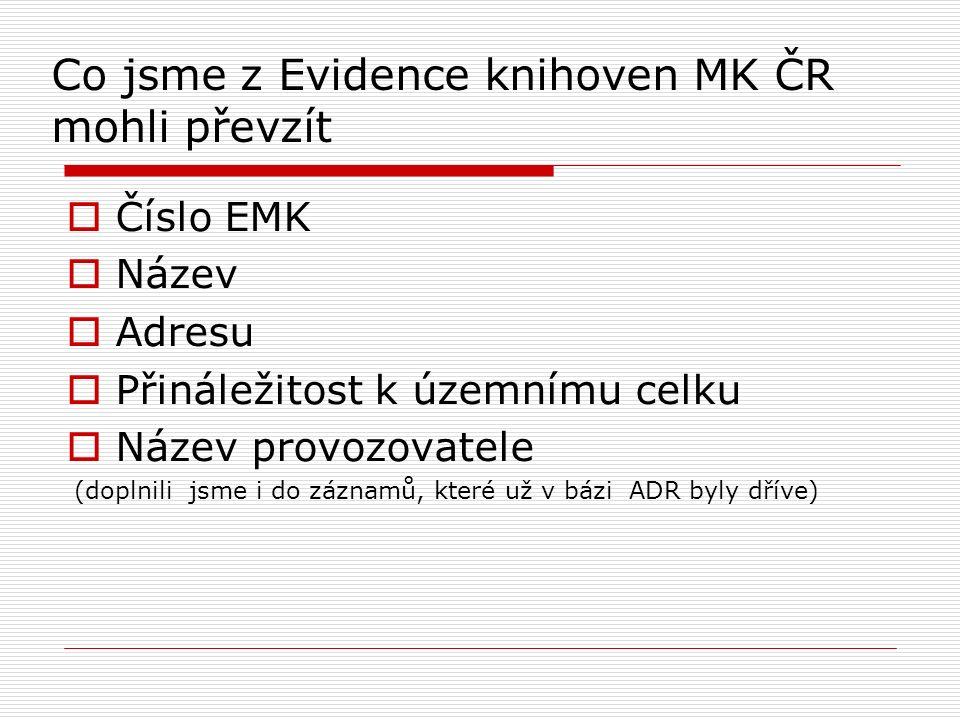 Co jsme z Evidence knihoven MK ČR mohli převzít  Číslo EMK  Název  Adresu  Přináležitost k územnímu celku  Název provozovatele (doplnili jsme i d