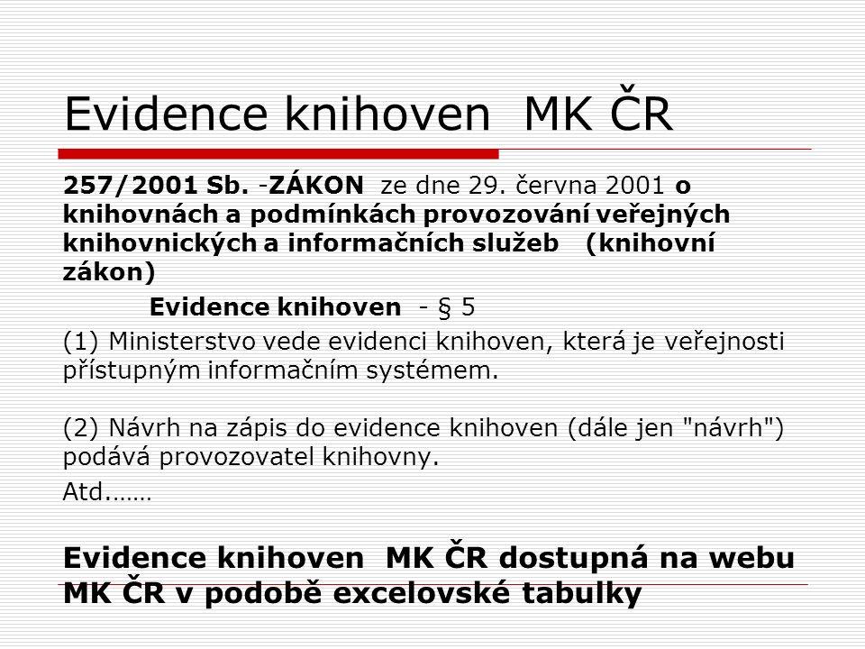 Evidence knihoven MK ČR 257/2001 Sb. -ZÁKON ze dne 29. června 2001 o knihovnách a podmínkách provozování veřejných knihovnických a informačních služeb