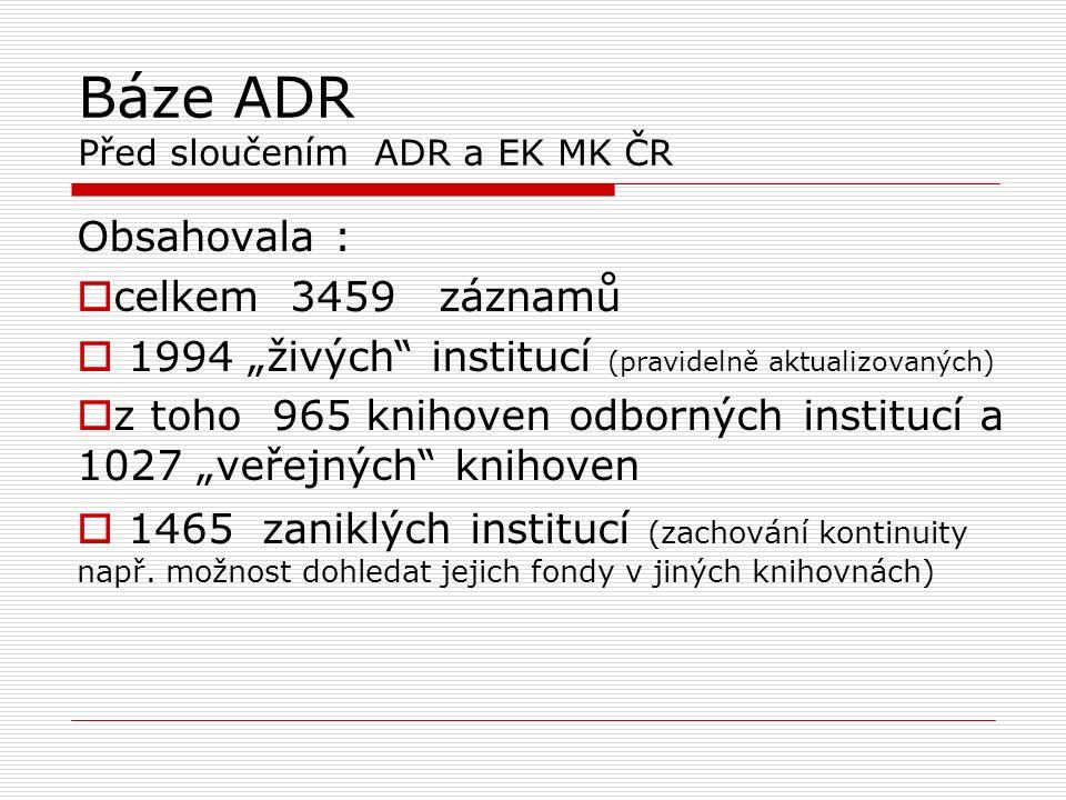 """Evidence knihoven MK ČR Před sloučením ADR a EK MK ČR 6539 řádků v Excelu obsahovalo:  6100 """"živých institucí / z toho 1426 bylo již součástí báze ADR ( tyto se do CADR nepřevzaly)  439 zaniklých institucí ( tyto se do CADR nepřevzaly) Celkem k převzetí do CADR 4674 knihoven  (vlastní typologie knihoven – nepřevzata do CADR)"""