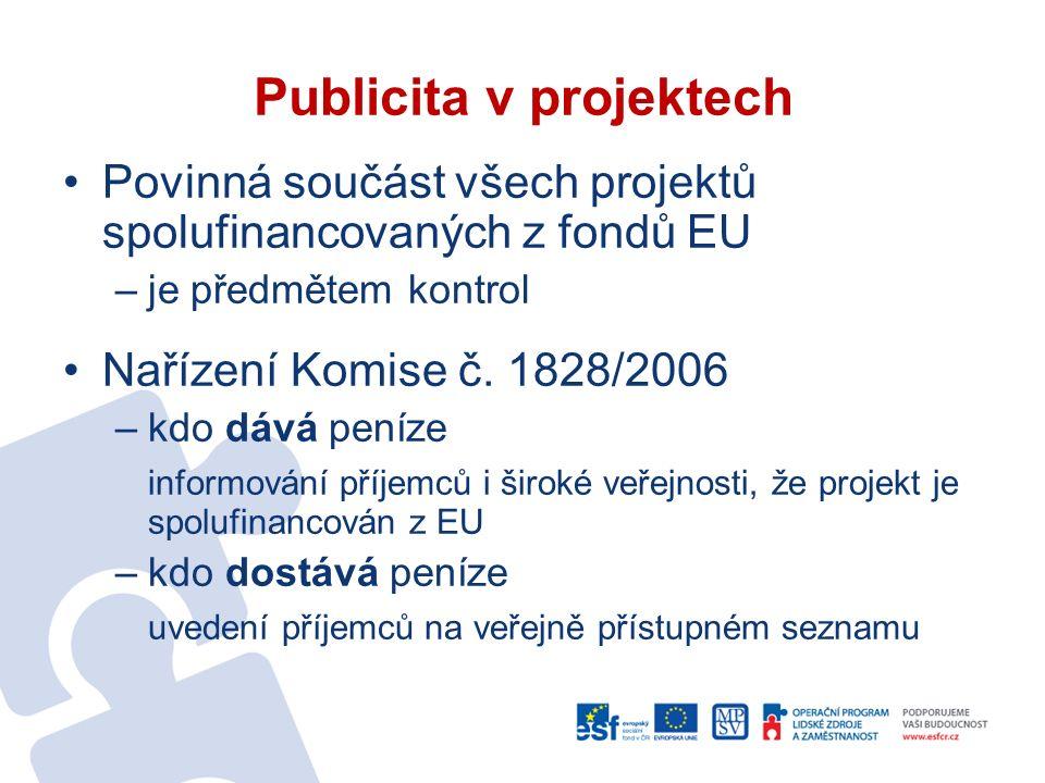 Povinná součást všech projektů spolufinancovaných z fondů EU –je předmětem kontrol Nařízení Komise č.