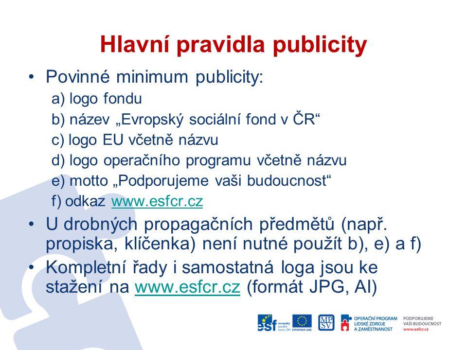 Časté otázky (I.) Povinné minimum publicity × publicitní aktivity: -minimum publicity = povinná loga, uvádí všichni příjemci; propagace programu, fondu, EU (kdo peníze dává); -publicitní aktivity = aktivity specifikované v projektové žádosti; zejména propagace projektu (na co se peníze dávají).