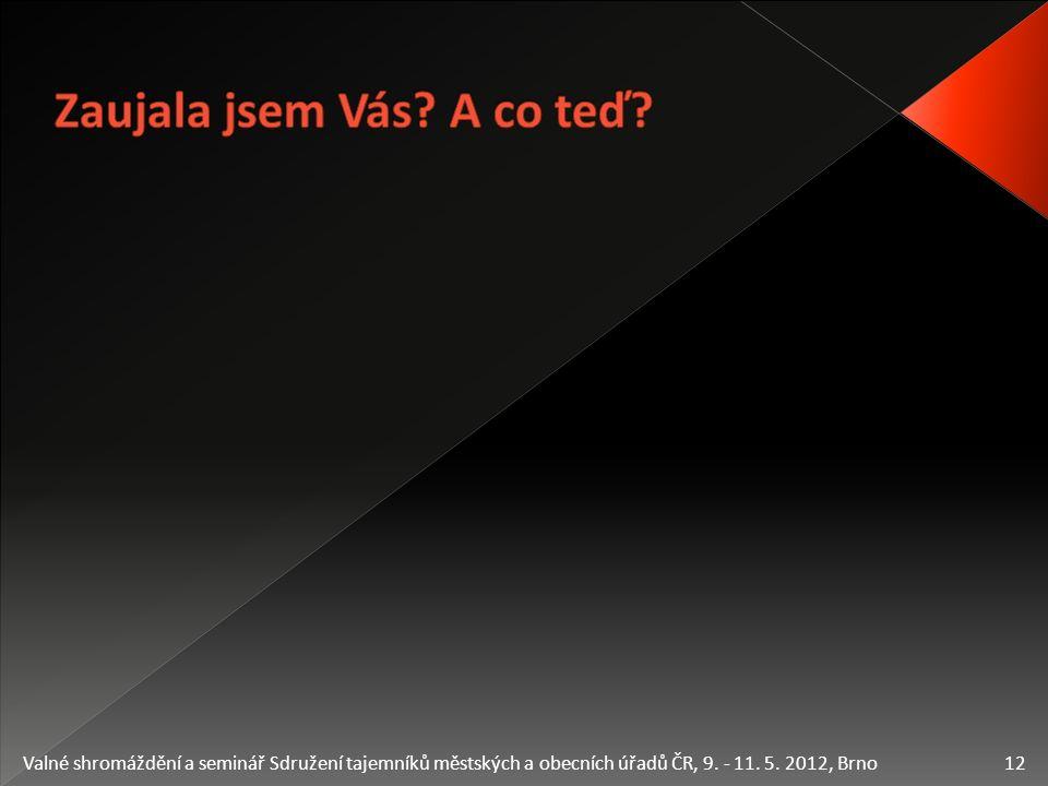 12 Valné shromáždění a seminář Sdružení tajemníků městských a obecních úřadů ČR, 9. - 11. 5. 2012, Brno