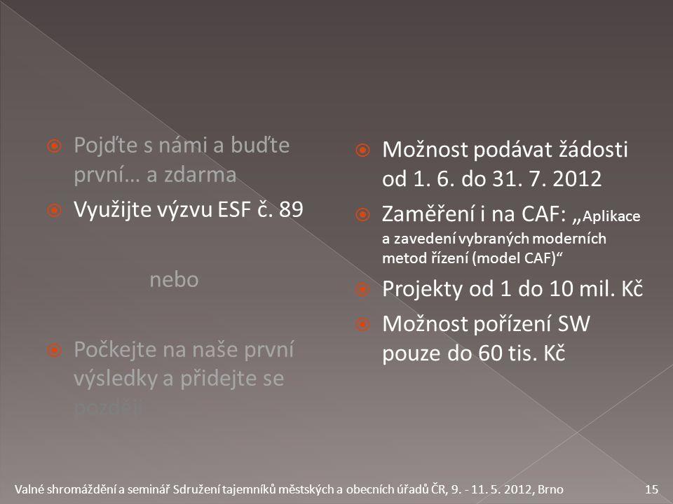 Pojďte s námi a buďte první… a zdarma  Využijte výzvu ESF č.