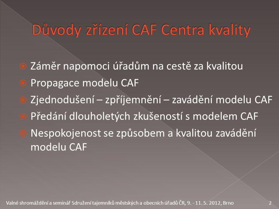  Záměr napomoci úřadům na cestě za kvalitou  Propagace modelu CAF  Zjednodušení – zpříjemnění – zavádění modelu CAF  Předání dlouholetých zkušeností s modelem CAF  Nespokojenost se způsobem a kvalitou zavádění modelu CAF 2 Valné shromáždění a seminář Sdružení tajemníků městských a obecních úřadů ČR, 9.
