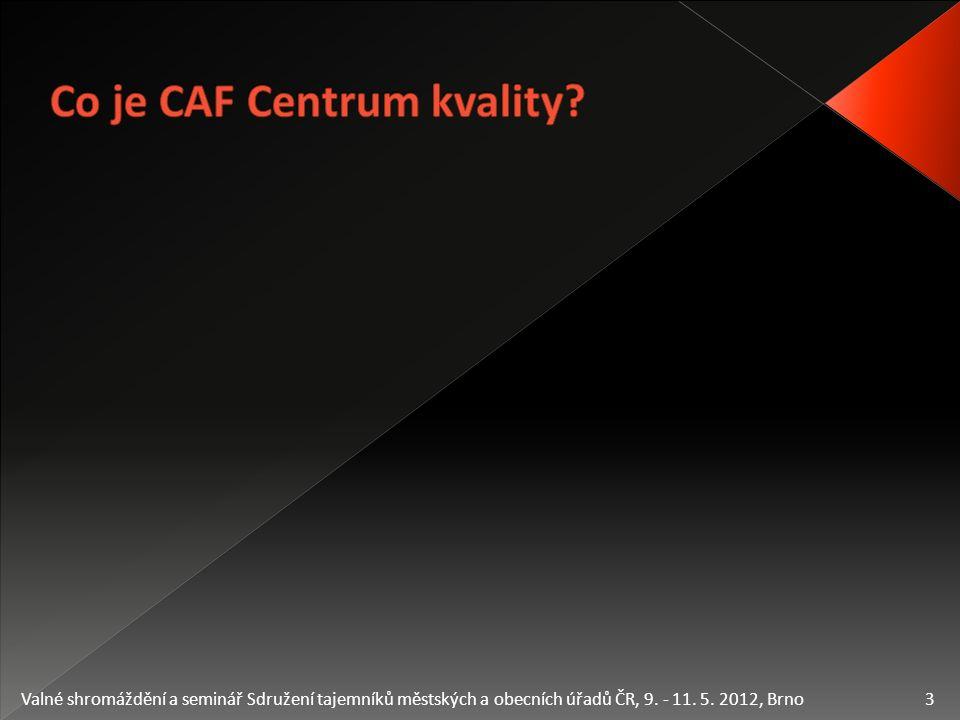  Příručka modelu CAF on-line  Elektronický nástroj pro zavádění modelu CAF  Jak správně postupovat při zavádění modelu CAF  Jak správně pochopit obsah modelu  Příručka Externí zpětné vazby on-line  Elektronický nástroj pro aplikaci Externí zpětné vazby  Zhodnotí, jak úřad postupoval při zavádění modelu CAF 4 Valné shromáždění a seminář Sdružení tajemníků městských a obecních úřadů ČR, 9.