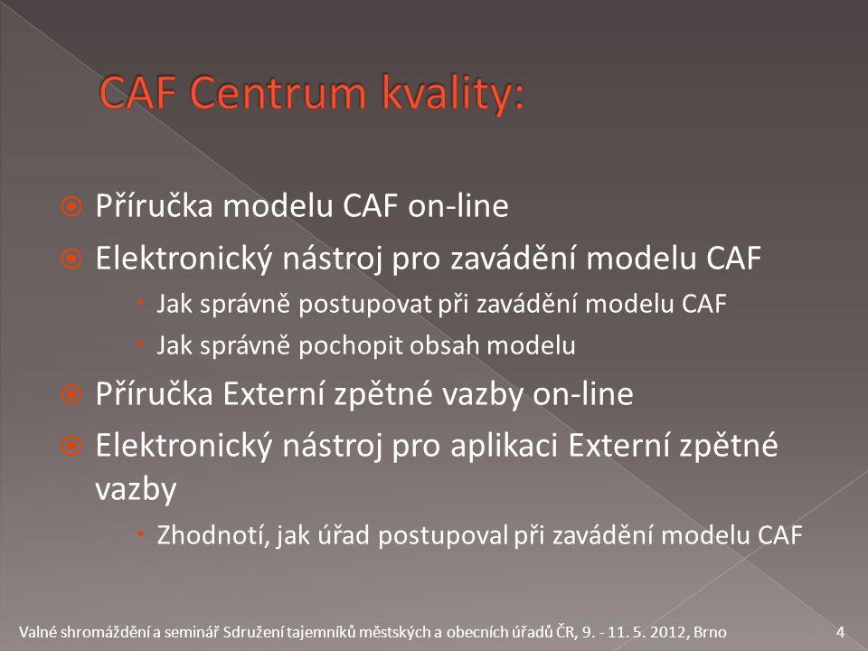  Příručka modelu CAF on-line  Elektronický nástroj pro zavádění modelu CAF  Jak správně postupovat při zavádění modelu CAF  Jak správně pochopit o
