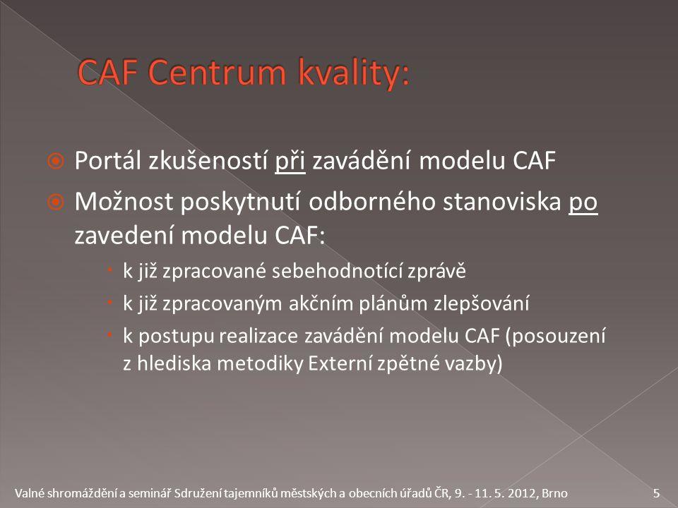  Portál zkušeností při zavádění modelu CAF  Možnost poskytnutí odborného stanoviska po zavedení modelu CAF:  k již zpracované sebehodnotící zprávě  k již zpracovaným akčním plánům zlepšování  k postupu realizace zavádění modelu CAF (posouzení z hlediska metodiky Externí zpětné vazby) 5 Valné shromáždění a seminář Sdružení tajemníků městských a obecních úřadů ČR, 9.