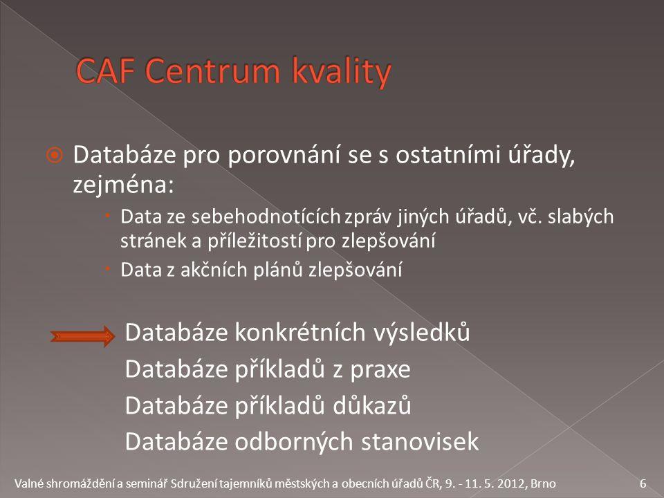  Databáze pro porovnání se s ostatními úřady, zejména:  Data ze sebehodnotících zpráv jiných úřadů, vč. slabých stránek a příležitostí pro zlepšován