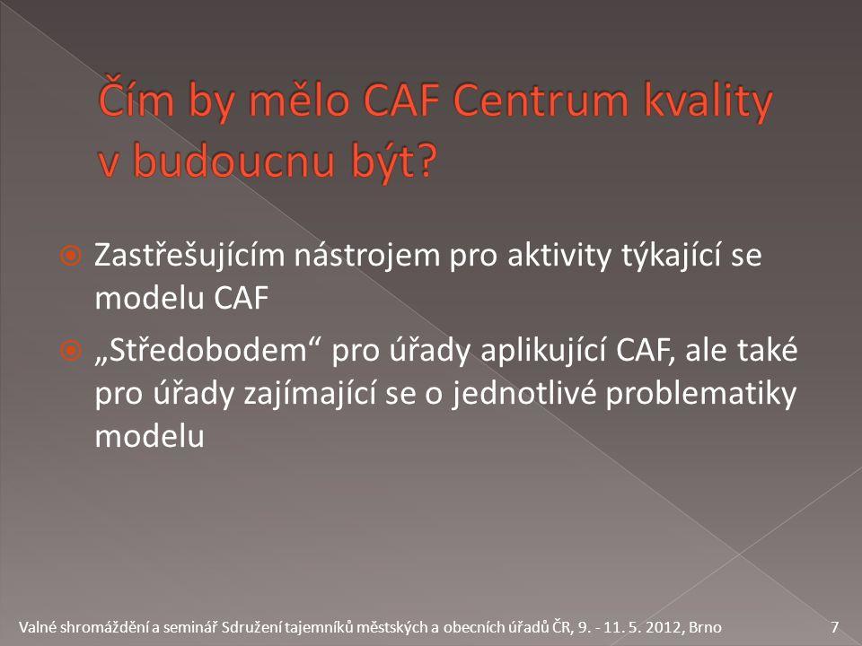 """ Zastřešujícím nástrojem pro aktivity týkající se modelu CAF  """"Středobodem pro úřady aplikující CAF, ale také pro úřady zajímající se o jednotlivé problematiky modelu 7 Valné shromáždění a seminář Sdružení tajemníků městských a obecních úřadů ČR, 9."""