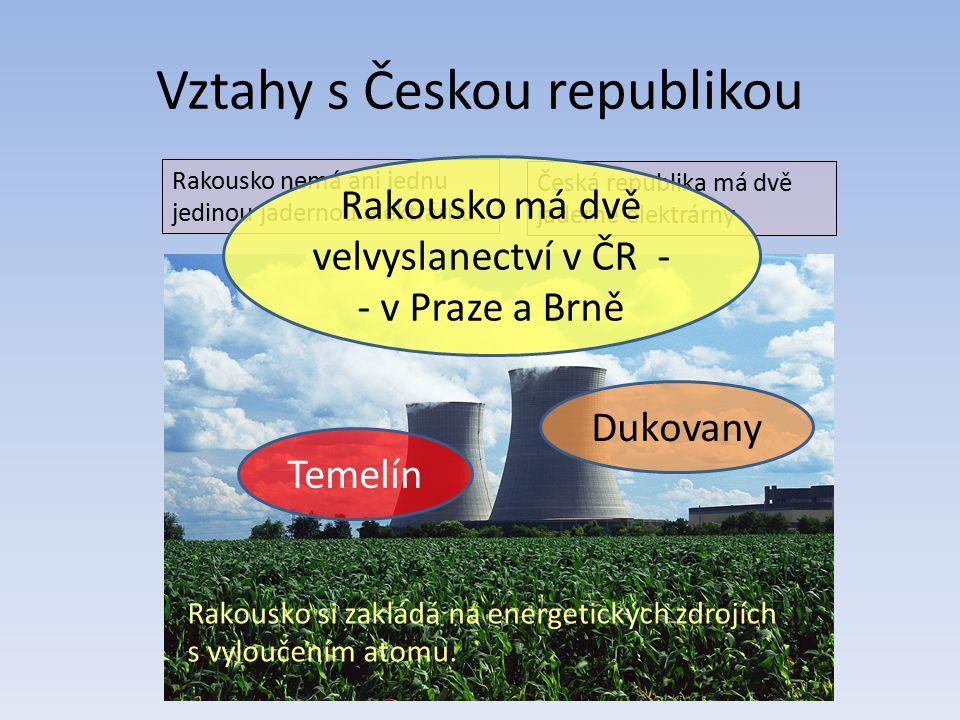 Vztahy s Českou republikou Rakousko nemá ani jednu jedinou jadernou elektrárnu Česká republika má dvě jaderné elektrárny Temelín Dukovany Rakousko si zakládá na energetických zdrojích s vyloučením atomu.