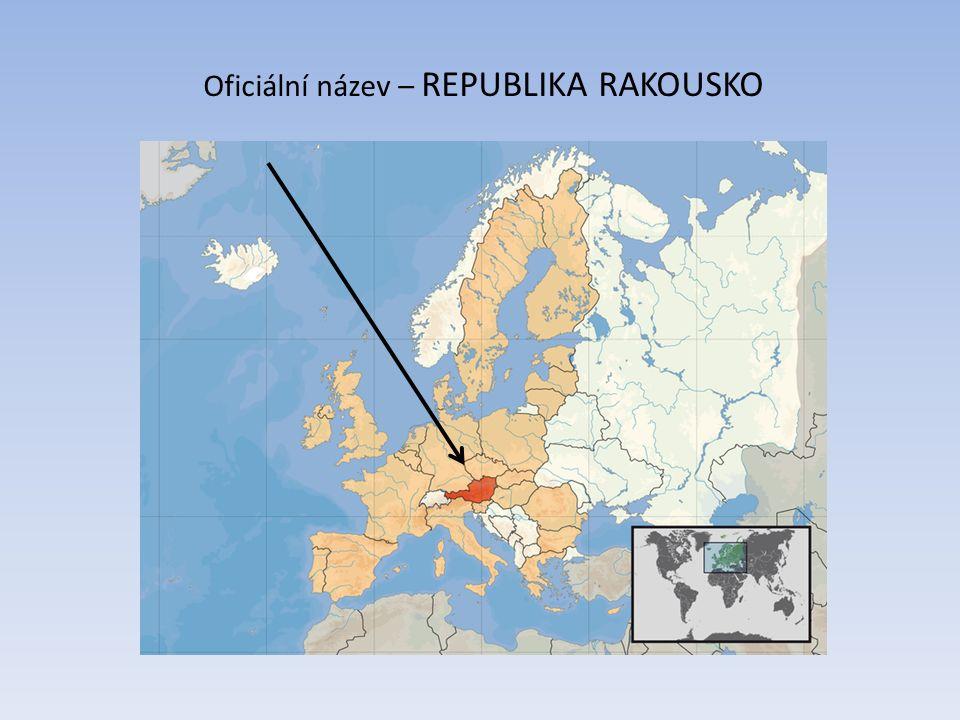 Rakousko – 9 spolkových zemí Vorarlbersko Tyrolsko Salcbursko Horní Rakousy Dolní Rakousy Korutany Štýrsko Burgenland
