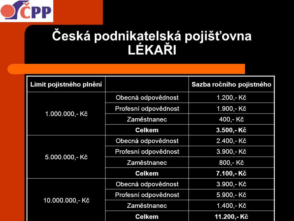 Česká podnikatelská pojišťovna LÉKAŘI Limit pojistného plněníSazba ročního pojistného 1.000.000,- Kč Obecná odpovědnost1.200,- Kč Profesní odpovědnost
