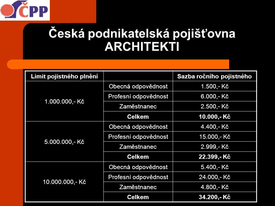 Česká podnikatelská pojišťovna ARCHITEKTI Limit pojistného plněníSazba ročního pojistného 1.000.000,- Kč Obecná odpovědnost1.500,- Kč Profesní odpověd