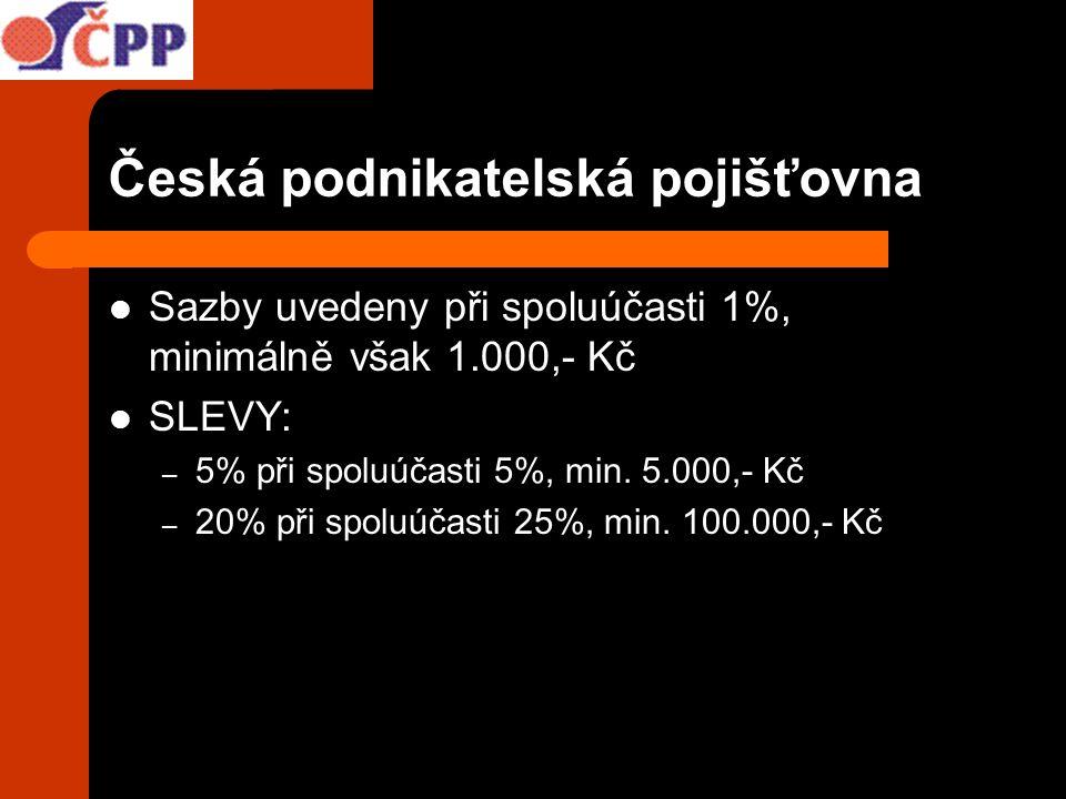 Česká podnikatelská pojišťovna Sazby uvedeny při spoluúčasti 1%, minimálně však 1.000,- Kč SLEVY: – 5% při spoluúčasti 5%, min. 5.000,- Kč – 20% při s