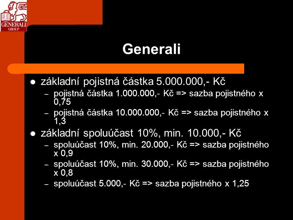 Generali základní pojistná částka 5.000.000,- Kč – pojistná částka 1.000.000,- Kč => sazba pojistného x 0,75 – pojistná částka 10.000.000,- Kč => sazb