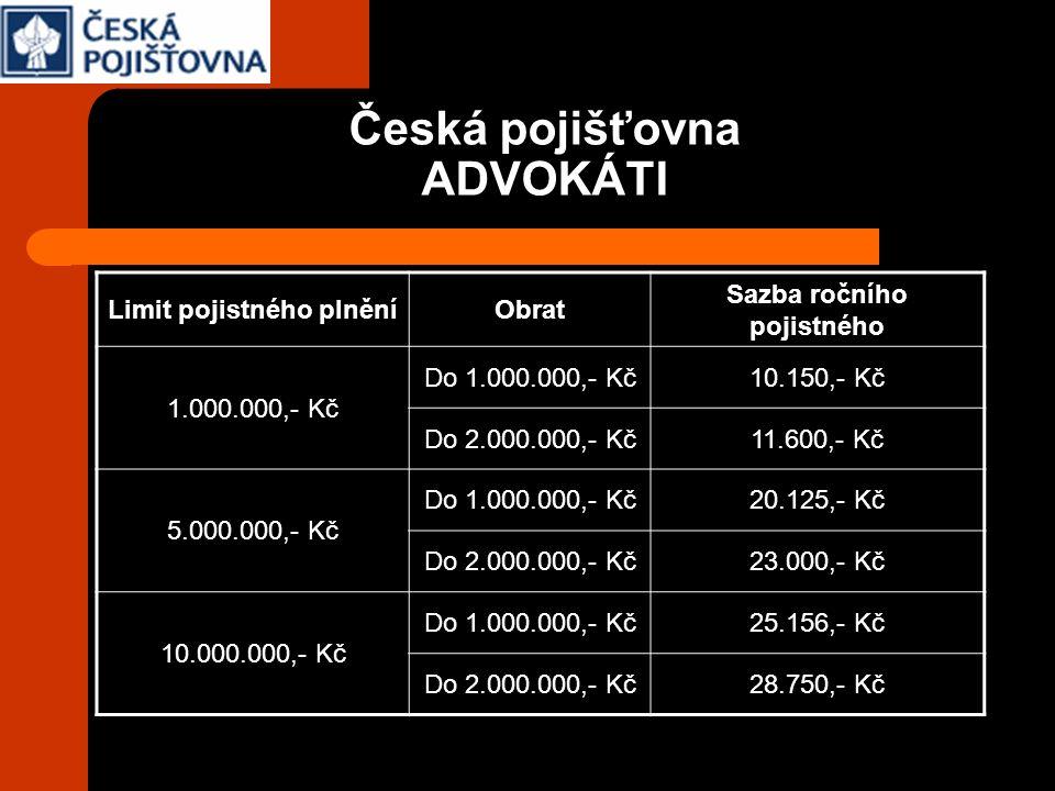 Česká pojišťovna ADVOKÁTI Limit pojistného plněníObrat Sazba ročního pojistného 1.000.000,- Kč Do 1.000.000,- Kč10.150,- Kč Do 2.000.000,- Kč11.600,-