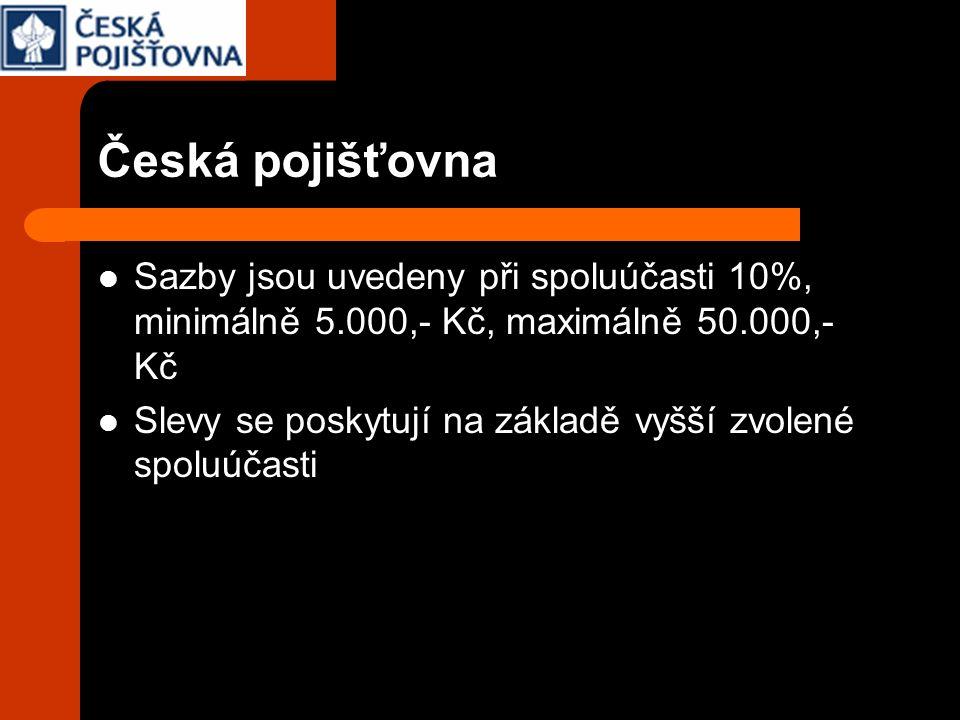 Česká pojišťovna Sazby jsou uvedeny při spoluúčasti 10%, minimálně 5.000,- Kč, maximálně 50.000,- Kč Slevy se poskytují na základě vyšší zvolené spolu