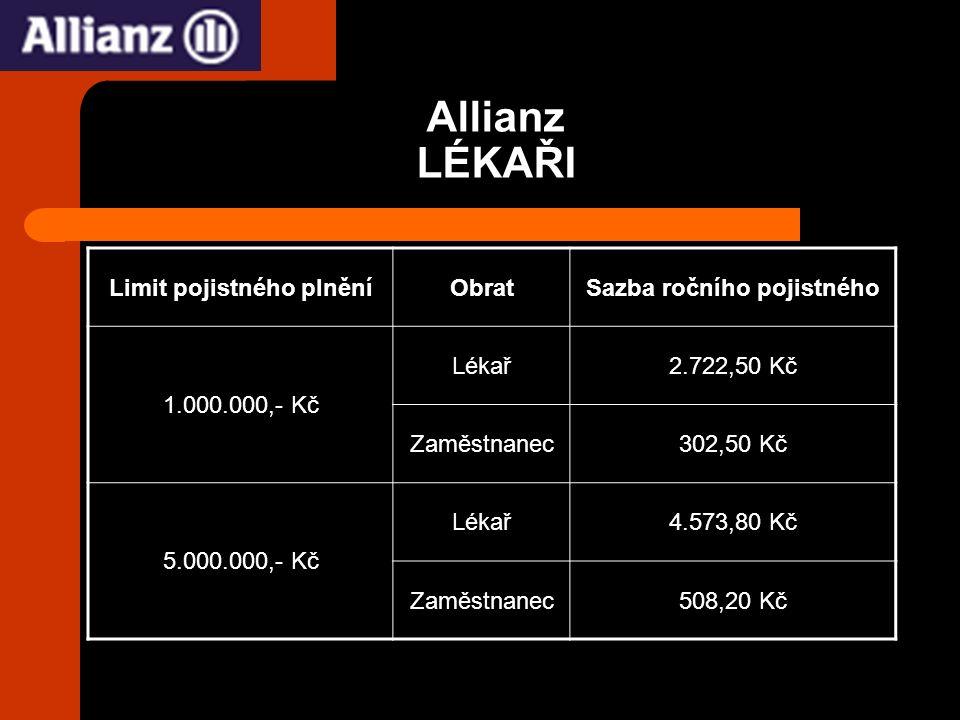 Allianz LÉKAŘI Limit pojistného plněníObratSazba ročního pojistného 1.000.000,- Kč Lékař2.722,50 Kč Zaměstnanec302,50 Kč 5.000.000,- Kč Lékař4.573,80