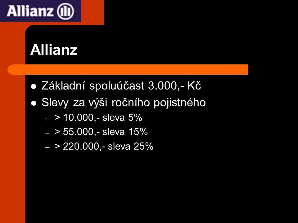 Allianz Základní spoluúčast 3.000,- Kč Slevy za výši ročního pojistného – > 10.000,- sleva 5% – > 55.000,- sleva 15% – > 220.000,- sleva 25%