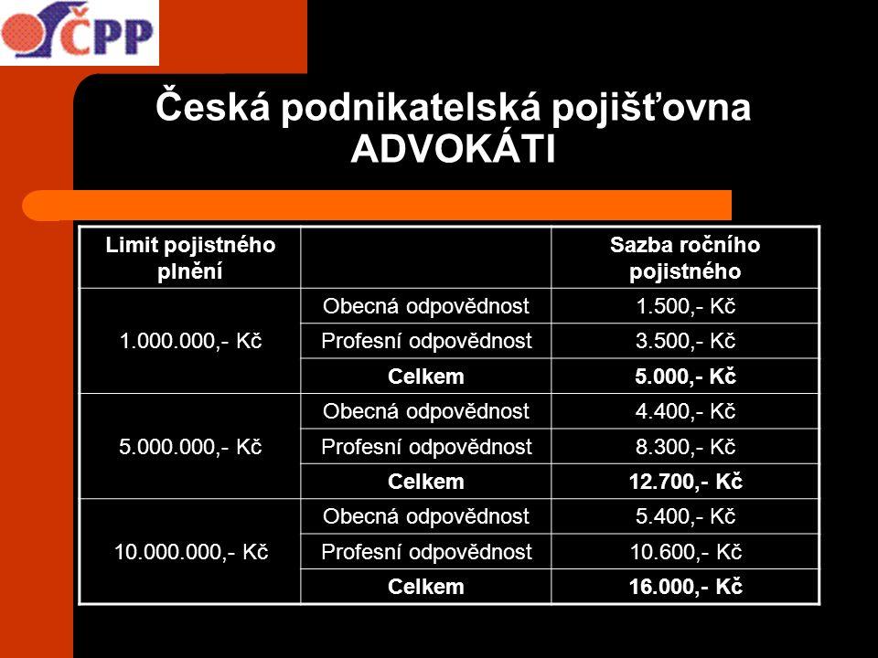 Česká podnikatelská pojišťovna ADVOKÁTI Limit pojistného plnění Sazba ročního pojistného 1.000.000,- Kč Obecná odpovědnost1.500,- Kč Profesní odpovědn