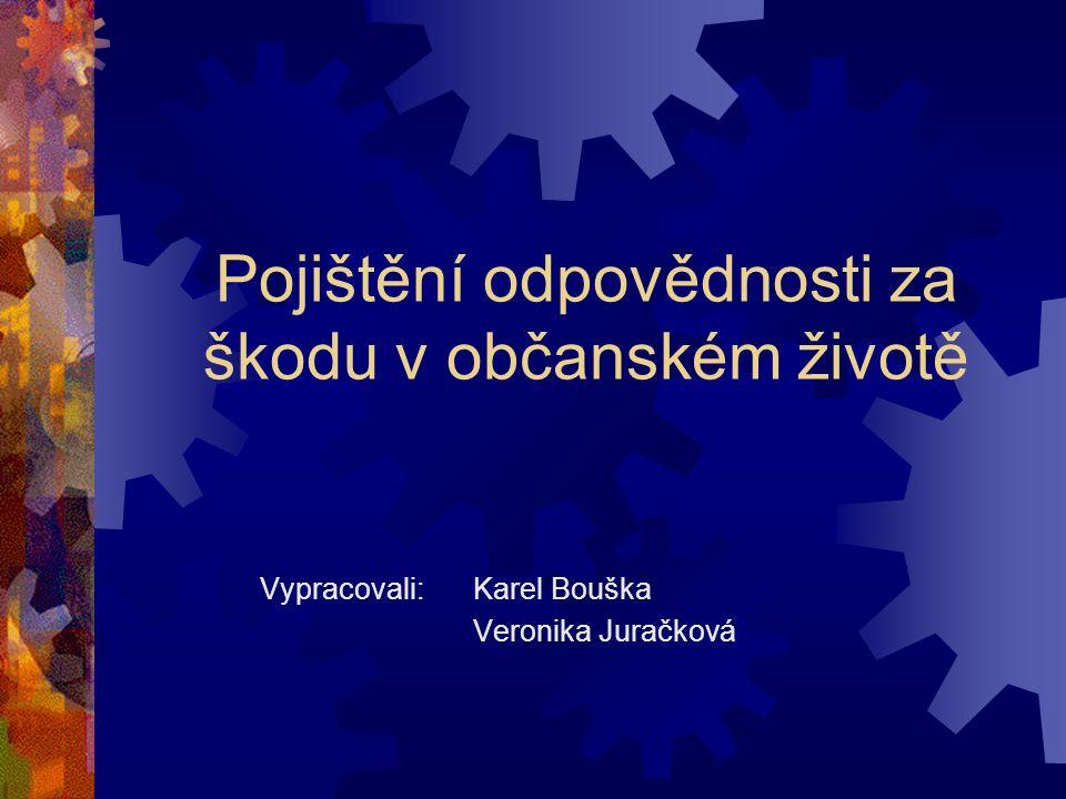 Pojištění odpovědnosti za škodu v občanském životě Vypracovali: Karel Bouška Veronika Juračková